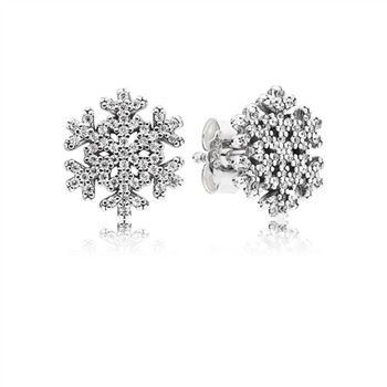 Pandora Snowflake Stud Earrings, Clear CZ 290589CZ
