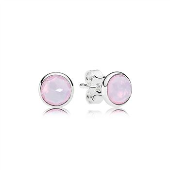 Pandora October Droplets Stud Earrings, Opalescent Pink Crystal 290738NOP