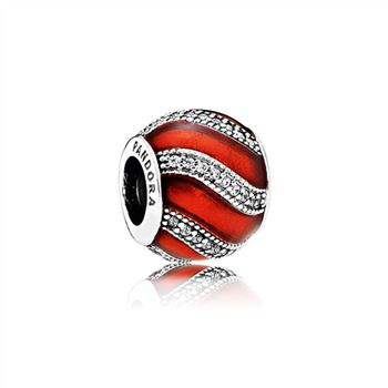 Pandora Adornment Charm, Translucent Red Enamel & Clear CZ 791991EN07