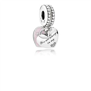Pandora Mother & Daughter Hearts Dangle Charm, Soft Pink Enamel & Clear CZ 792072EN40