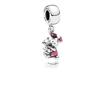 Pandora Disney, Piglet Dangle Charm, Transparent Cerise Enamel 792134EN117