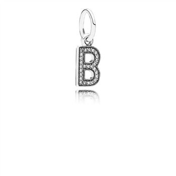 Pandora Letter B Dangle Charm, Clear CZ 791314CZ