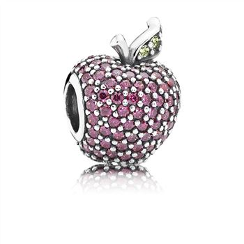 Pandora Red Pave Apple Charm, Fancy Red CZ & Green Crystal 791485CFR