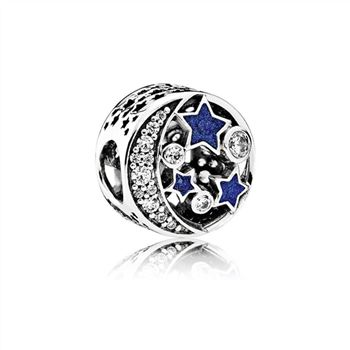 Pandora Vintage Night Sky Charm, Shimmering Midnight Blue Enamel & Clear CZ 791992CZ