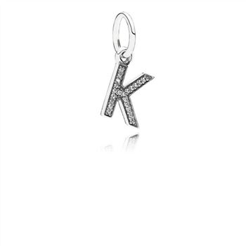 Pandora Letter K Dangle Charm, Clear CZ 791323CZ