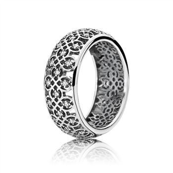 Pandora Intricate Lattice Ring, Clear CZ 190955CZ