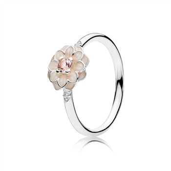 Pandora Blooming Dahlia Ring, Cream Enamel, Clear CZ & Blush Pink Crystals 190985NBP