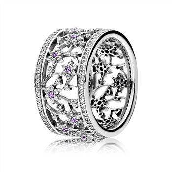 Pandora Forget Me Not Ring, Purple & Clear CZ 190991ACZ