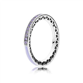 Pandora Radiant Hearts of PANDORA Ring, Lavender Enamel & Clear CZ 191011ACZ