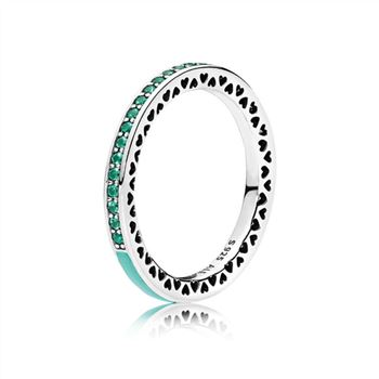 Pandora Radiant Hearts of PANDORA Ring, Bright Mint Enamel & Royal Green Crystals 191011NRG