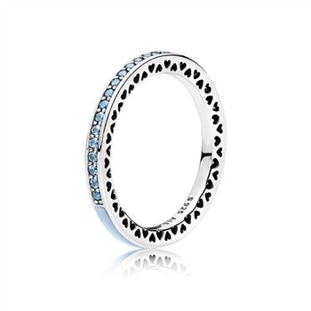 Pandora Radiant Hearts of PANDORA Ring, Air Blue Enamel & Sky Blue Synthetic Spinel 191011SSS