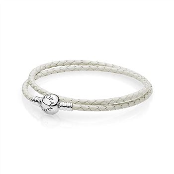 Pandora Ivory White Braided Double-Leather Charm Bracelet 590745CIW-D