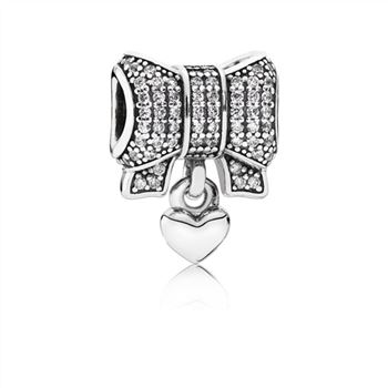 Pandora Bow silver charm with clear cubic zirconia and heart 791776CZ