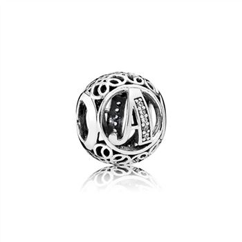 Pandora Letter A silver charm with clear cubic zirconia 791845CZ