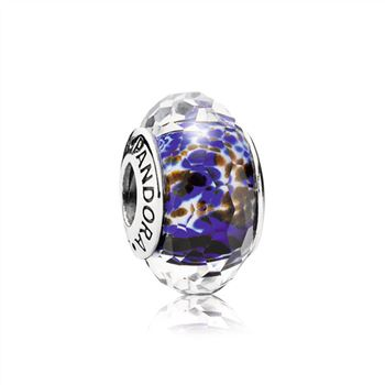 Pandora Abstract faceted fritt silver charm with blue, white and brown MURANO GLASS 791609