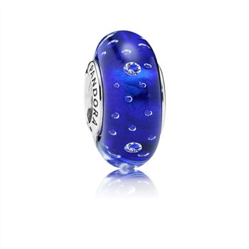 Pandora Dark Blue Effervescence Charm, Murano Glass & Clear CZ 791630CZ