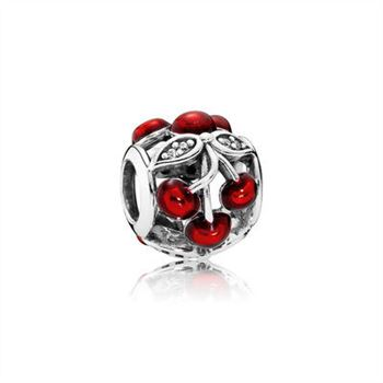 Pandora Cherry silver charm with clear cubic zirconia and red enamel 791900EN73