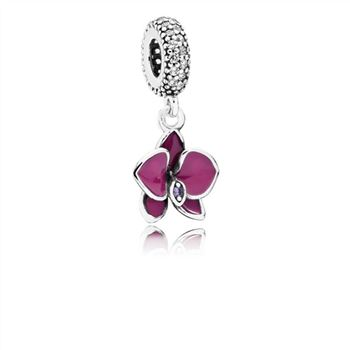 Pandora Orchid Dangle Charm, CZ & Radiant Orchid-Colored Enamel 791554EN69