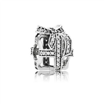 Pandora Openwork gift silver charm with clear cubic zirconia 791766CZ