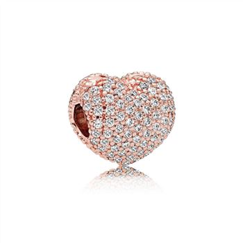 Pandora Pave Open My Heart Clip, PANDORA Rose & Clear CZ 781427CZ