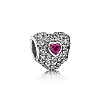 Pandora In My Heart Charm, Clear CZ & Synthetic Ruby 791168SRU
