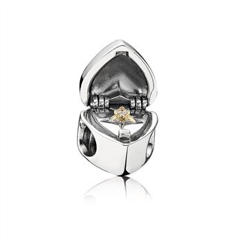 Pandora Gift Form the Heart Ringbox Silver & Gold Charm 791247CZ