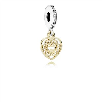Pandora Magnificent Heart Dangle Charm, Clear CZ 791742CZ