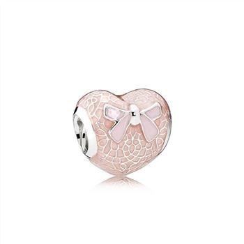 Pandora Pink Bow & Lace Heart Charm, Transparent Misty Rose & Soft Pink Enamel 792044ENMX