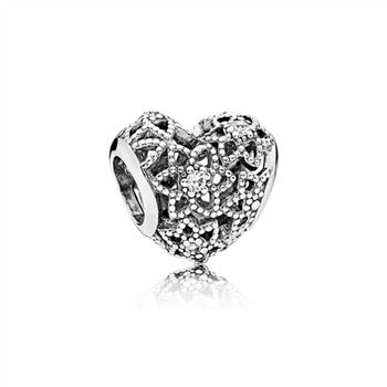 Pandora Blooming Heart Charm, Clear CZ 796264CZ